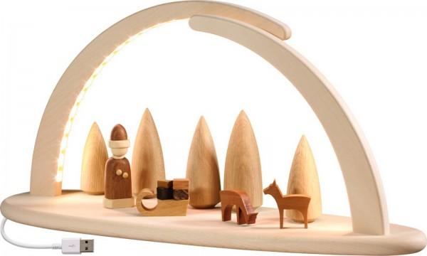 naturbelassener LED Schwibbogen, modern, Weihnachtsmotiv