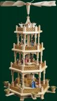 Vorschau: Weihnachtspyramide Christi Geburt, 3 - stöckig, bunt, 54 cm, Richard Glässer GmbH Seiffen/ Erzgebirge