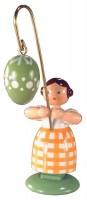 Vorschau: Ostermädchen von WEHA-Kunst mit grünem Osterei, 11 cm_Bild1