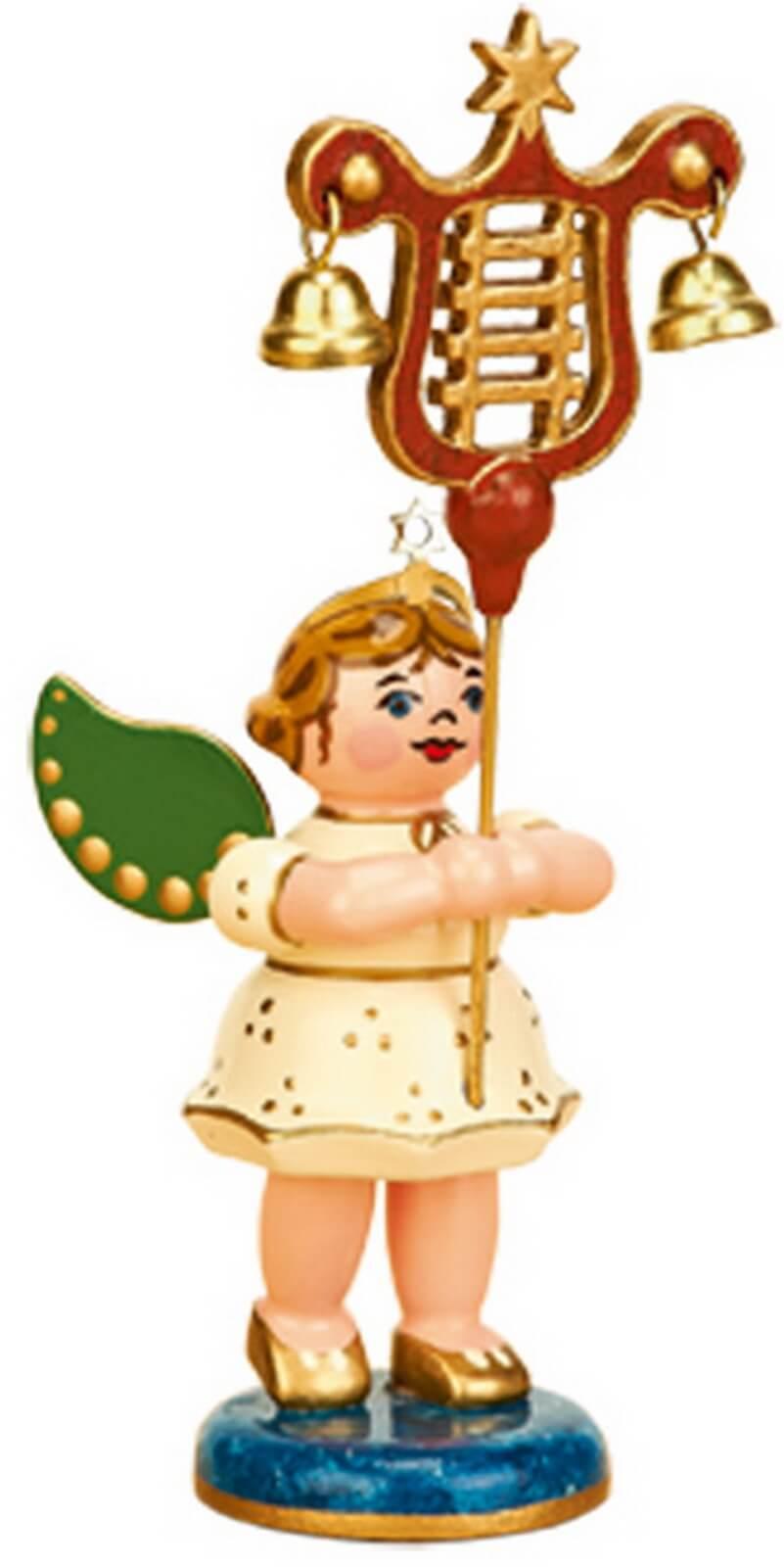 Weihnachtsengel mit Lyra von Hubrig Volkskunst GmbH Zschorlau/ Erzgebirge ist 7 cm groß.