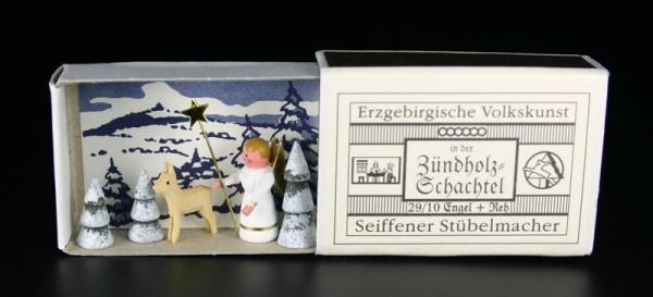 Zündholzschachtel Engel mit Reh von Gunter Flath aus Seiffen / Erzgebirge Detailgetreue Nachbildung von Engel mit Reh aus früheren Zeiten. Dieses Motiv wurde …