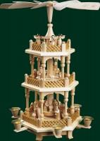 Vorschau: Weihnachtspyramide Christi Geburt, 2 - stöckig, natur, 40 cm, Richard Glässer GmbH Seiffen/ Erzgebirge