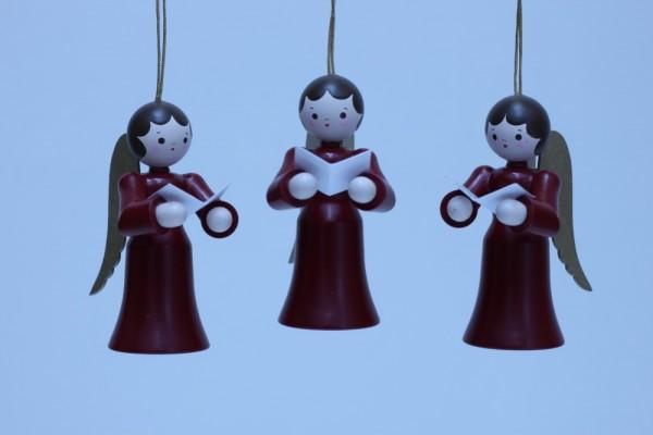 3 Weihnachtsengel, hängend in rot mit Buch