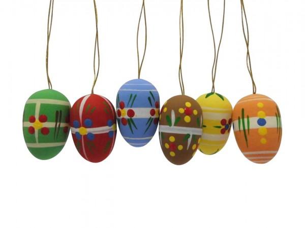 Ostereier, farbig handbemalt, 6 Stück, 3,5 cm von Nestler-Seiffen.com OHG Seiffen/ Erzgebirge