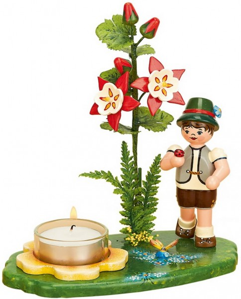 Kerzenhalter Blumenkinder Junge mit Akelei, 17 cm von Hubrig Volkskunst GmbH Zschorlau/ Erzgebirge