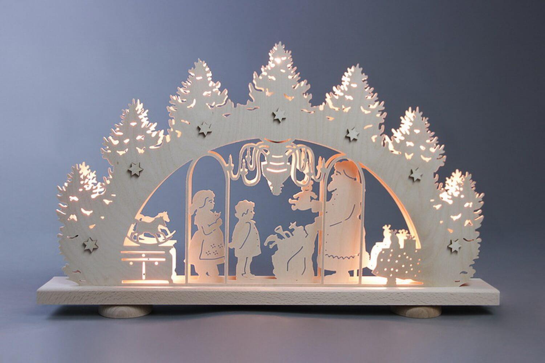 Schwibbogen Bescherung, 10 flammig, elektrisch beleuchtet, 52 x 32 x 6 cm von Weigla - Günter Gläser Deutschneudorf/ Erzgebirge Der …