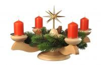 Vorschau: Adventsleuchter mit Weihnachtsstern und Tannenkranz, natur hergestellt von Albin Preißler_Bild1
