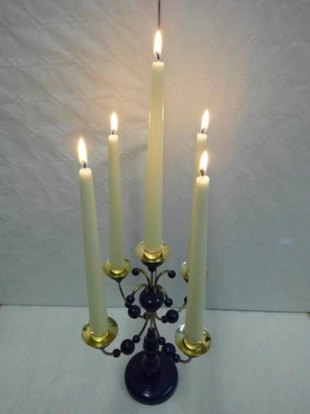 Leuchter, 5- armig dunkelblauohne Kerzen, 28 cm hoch, Nestler-Seiffen.com OHG Seiffen/ Erzgebirge