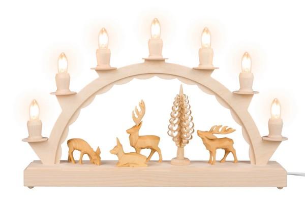 Schwibbogen von Nestler-Seiffen mit geschnitzen Hirschen, elektrisch beleuchtet_Bild1