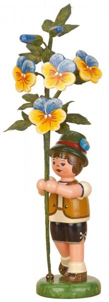 Junge mit Hornveilchen aus Holz aus der Serie Hubrig Blumenkinder