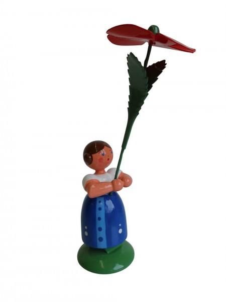 Blumenkinder - Feld- und Wiesenblumenkind Mädchen mit Mohnblume, 11 cm von WEHA-Kunst Dippoldiswalde/ Erzgebirge