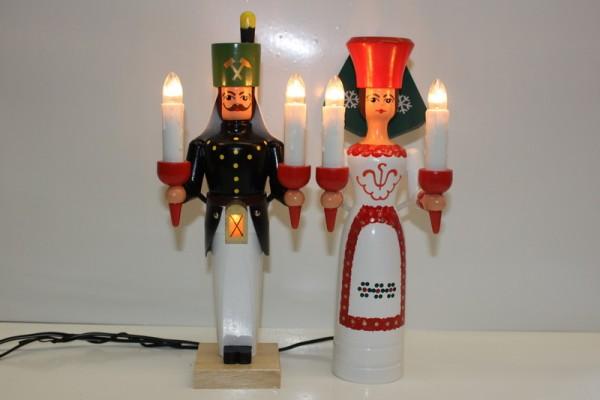 Engel und Bergmann, bunt, elektrisch beleuchtet und separatem Trafo, 26 cm von Nestler-Seiffen.com OHG Seiffen/ Erzgebirge