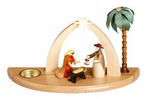 Weihnachtskrippe mit Teelicht und Heiliger Familie, 17 cm Größe ca. 17 cm, Figuren je 9 cm Beleuchtung: Teelichte Material: heimische Hölzer, hochwertige …