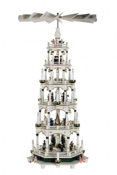 KWO Weihnachtspyramide Motiv Weihnachtsgeschichte, 5 Stockwerke, elektrisch angetrieben und beleuchtet