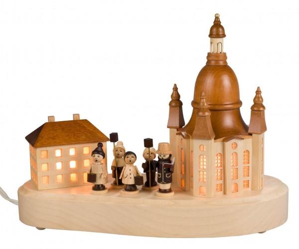 Sockelbrett von Nestler-Seiffen mit dem Motiv Dresdner Frauenkirche mit Laternenkinder_Bild1