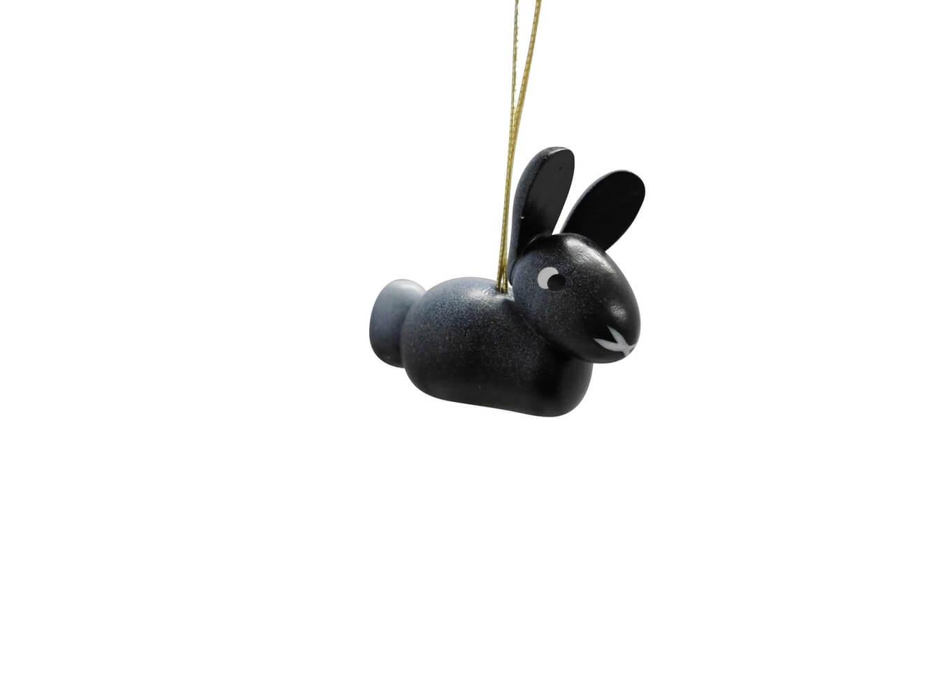 Hase zum hängen schwarz, 5 Stück, 3 cm von Nestler-Seiffen aus Seiffen/ Erzgebirge
