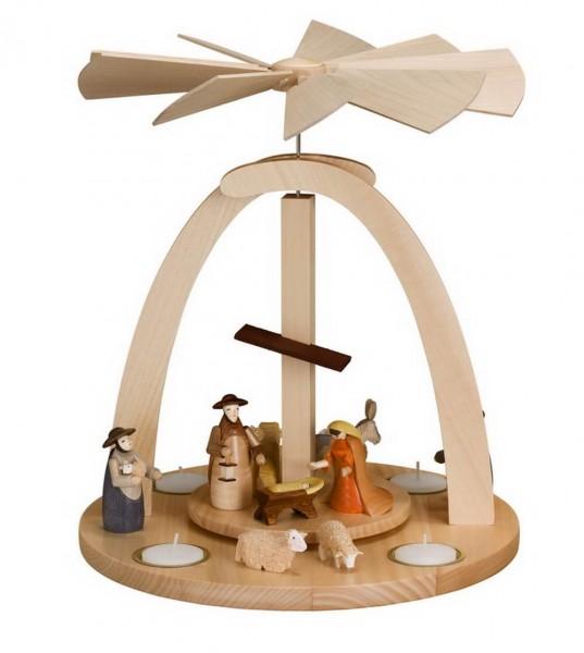 Weihnachtspyramide & Tischpyramide mit Heiliger Familie für Teelichter, 33 cm Größe ca. 33 cm, Figuren: 9 cm Betrieb mit Teelichte Material: heimische …
