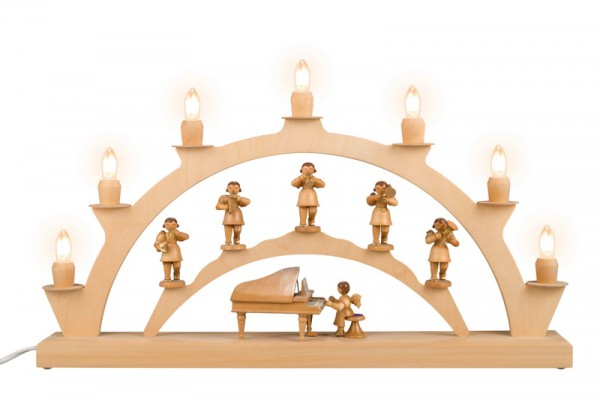 LED Schwibbogen mit Weihnachtsengel, elektrisch beleuchtet, LED, 50 x 28 cm, Nestler-Seiffen.com OHG Seiffen/ Erzgebirge