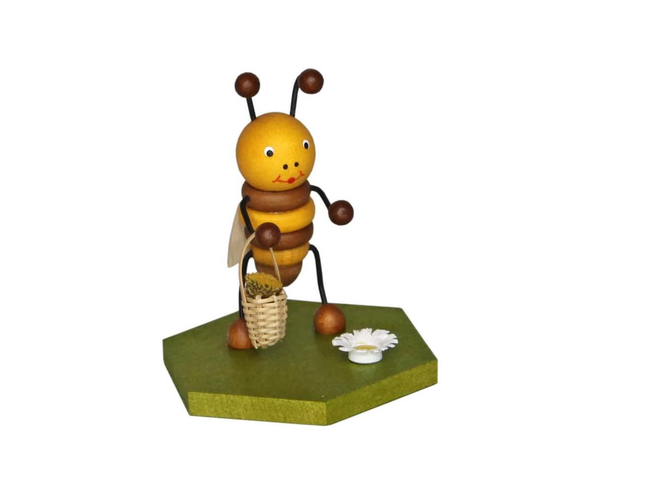 Biene mit Blumenkorb, 8cm von Volker Zenker aus Seiffen