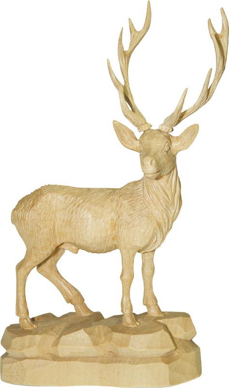 Hirsch mit gedrehtem Kopf, natur, geschnitzt, in verschiedenen Größen