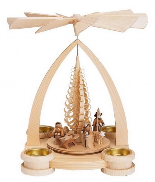 Weihnachtspyramide & Teelichtpyramide mit Heiliger Familie, natur, 28 cm Größe ca. 28 cm Betrieb mit Teelichte Material: heimische Hölzer, hochwertige …