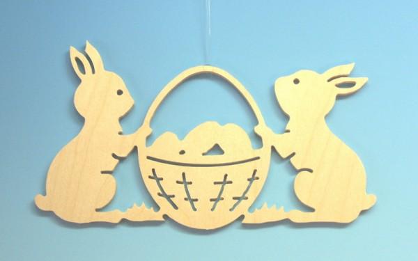Fensterschmuck 2 Osterhasen mit Korb, natur, 14,5 x 8 x 0,3 cm, Gerd Hofmann Seiffen/ Erzgebirge
