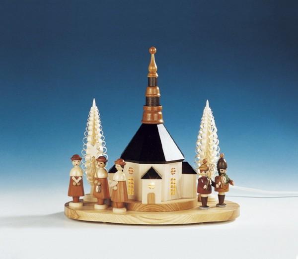 Sockelbrett Seiffener Kirche mit große Kurrende und Laternenkindern, komplett elektrisch beleuchtet, 31 x 33 cm, Knuth Neuber Seiffen/ Erzgebirge