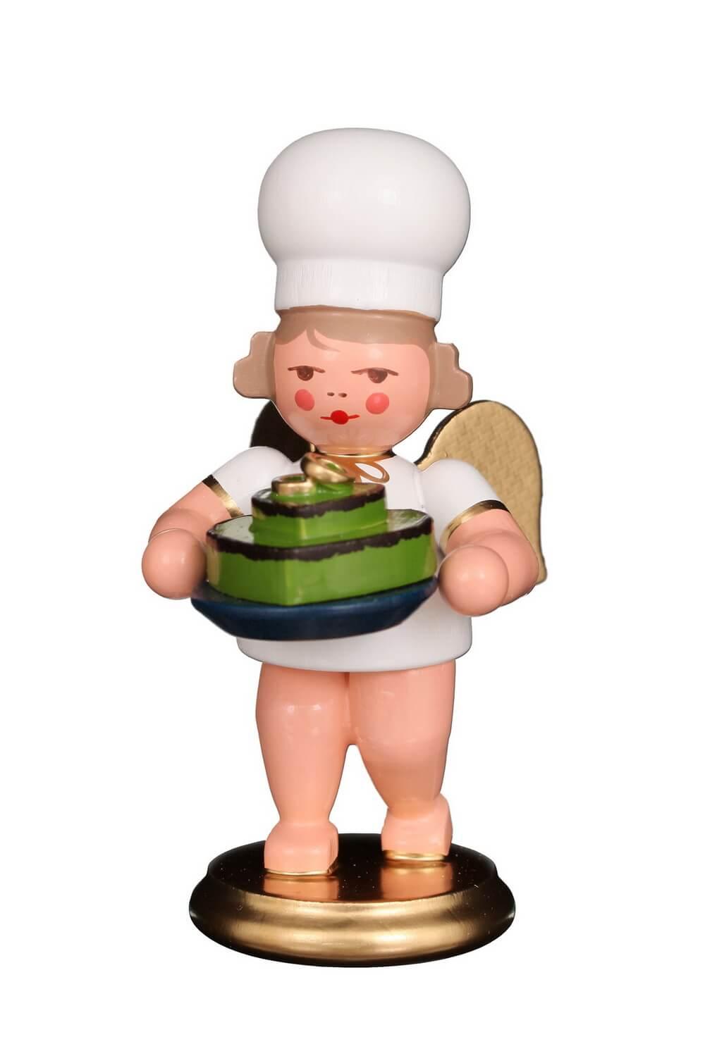 Weihnachtsengel - Bäckerengel mit Herztorte, 8 cm von Christian Ulbricht GmbH & Co KG Seiffen/ Erzgebirge