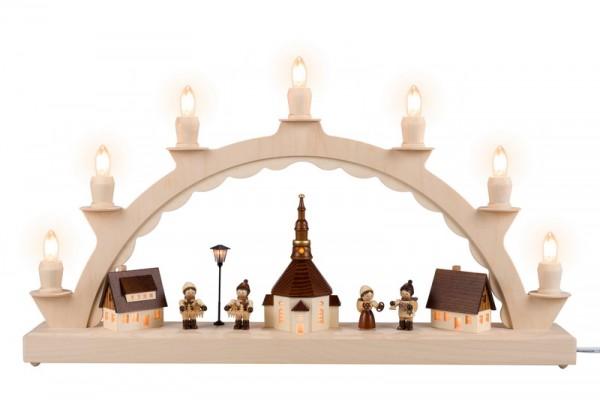 Schwibbogen Seiffener Dorf mit Striezelkinder, beleuchteter Straßenlaterne und Kirchturmbeleuchtung, komplett elektrisch beleuchtet, 50 x 28 cm, …