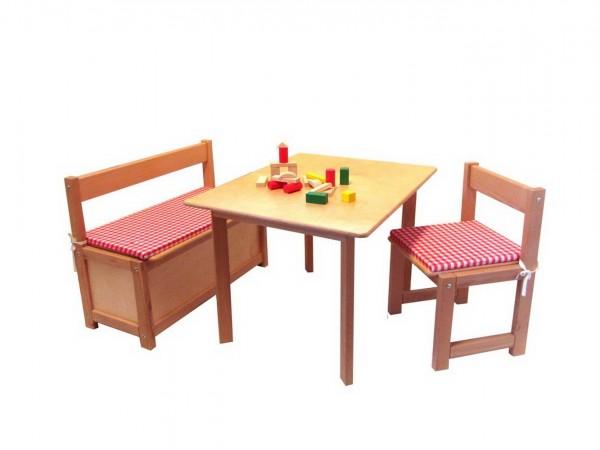 Holzmöbel Sitzgarnitur 3teilig für Kinder, mit einem Kinderstuhl, einem Kindertisch und einer Truhenbank. DieSitzgarnitur ist mit rot-weißkarierten …