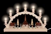 Vorschau: LED Schwibbogen von Nestler-Seiffen mit Seiffener Dorf und Bergmannskapelle, elektrisch beleuchtet_Bild2