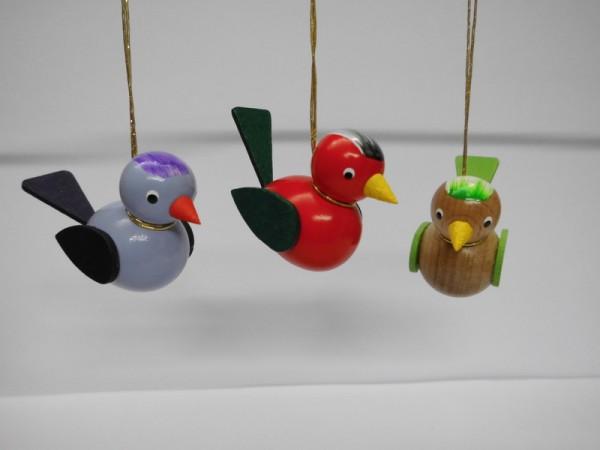Vögel zum hängen, 3 Stück, lila/rot/braun von Nestler-Seiffen