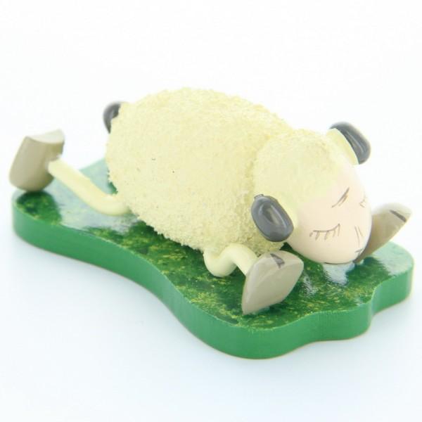 Schaf Schlaffi, liegend auf Bauch, 3,5 cm, Frieder & André Uhlig Seiffen/ Erzgebirge