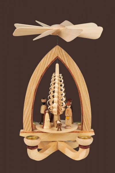 Weihnachtspyramide mit Christi Geburt, natur, 28 cm, Heinz Lorenz Olbernhau/ Erzgebirge