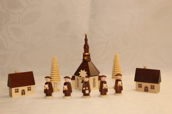 Weihnachtsfiguren Seiffener Dorf mit Kirche und Kurrende, 10 - teilig, braun, 10 cm, Nestler-Seiffen.com OHG Seiffen/ Erzgebirge