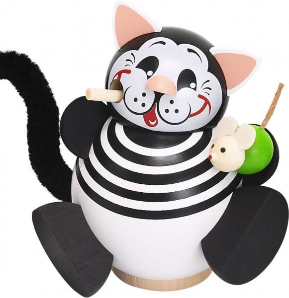 lustige Räucherfigur Katze mit Maus