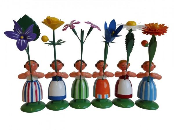 Blumenkinder - Feld- und Wiesenblumenkinder Mädchen, 6 Stück, 11 cm von WEHA-Kunst Dippoldiswalde/ Erzgebirge